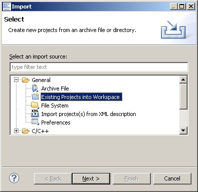 Selecting Existing Project Into Workspace in the LPCXpresso IDE