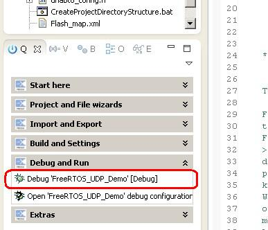 Starting a debugging session in the LPCXpresso embedded IDE
